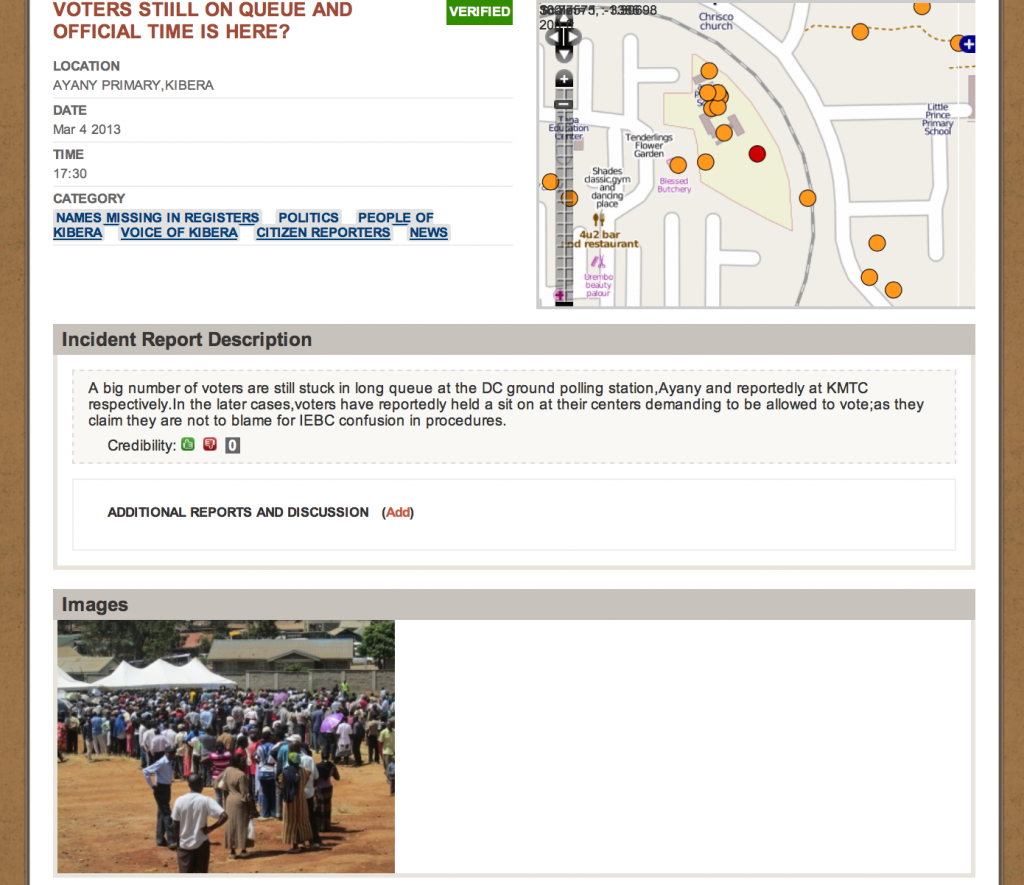 Example of report from election day on Voice of Kibera